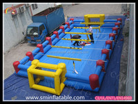 2015 popular outdoor toy inflatable water football pitch ,inflatable soap football field, inflatable football equipment