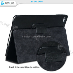 for ipad air 2 genuine leather case cover stand,good finishing leather cover for ipad air 2