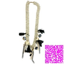 Yiwu Upscales Simulation Fashion Black Stone Statement Stainless Steel Chain Necklace