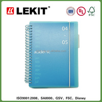 blue pvc board spiral note book with elastic closure, spiral bound book printing