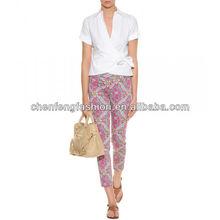 CHEFON Wrap-around cotton latest women office blouse designs CMT0065