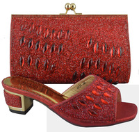 SB419 red color EUR size 38/39/40/41/42/43 message us which size you want low heeled shoes and matching bags