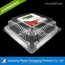 Disposable Small PS/PET Clear Plastic Fruit and Vegetable Packaging cherry tomato packaging With printed label.