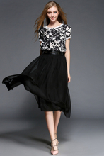 2015 clothing latest High Quality Floral and Black chiffon Short Sleeves Round Neck females printed Spring Maxi Dress