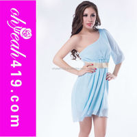 Wholesale latest designs ladies one shoulder knee length with belt dress various colors sexy ladies without dress