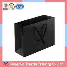 Hot Sale Cardboard Apparel Packaging Black Shopping Paper Bags