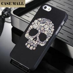 2015 Hot Selling Skeleton Image cool black skull plastic PC case for iphone 5 5s