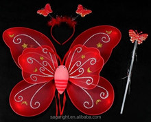 New Light Red Color Glitter Butterfly Wings Set Kids Party Celebration Fairy Wings For Girls