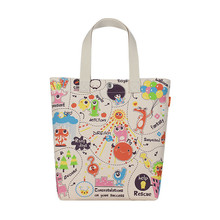 White Color Lovely Pattern Printed New Design Shopping Canvas Tote Bag