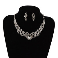 Bridal Wedding Bride Silver Rhinestone Necklace Earring Jewelry Set Party