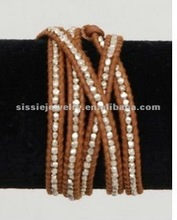 Natural Brown Leather Wrap Bracelet Silver Beads