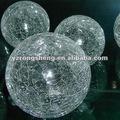 2015 vente chaude de nouvelle decoration de verre clair boules faussement craqué de verre boule de verre creuse