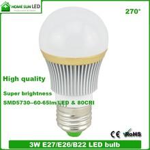 3w LED Globe Bulb E27 /E14/ B22 Aluminium Home sun led