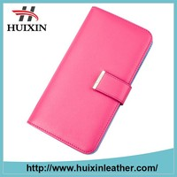 Beautiful pu leather women long wallet cheapest price zipper pocket