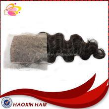 No Shedding high quality 100% brazilian hair natural wavy silk top lace closure