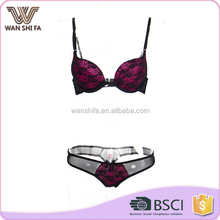 Sexy enchanting transparent lace decoration panty and bra sets for girls