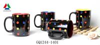 2015 new bright black ceramic mug stoneware mug with handpainting