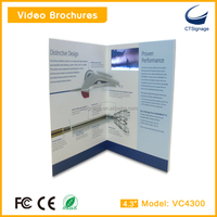 "4.3""led lcd video brochure digital card for ad and prmotion gift,fresh electronic LCD LED Brochure with magnetic control button"