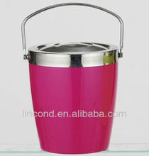 double wall colorful stainless steel ice bucket/ ice cooler with lid & handle