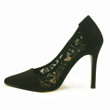 Lady sexy black lace pumps high heel shoes dress shoes