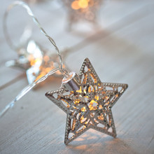 Christmas star light 10 Silver Star Battery Operated LED decoration lights