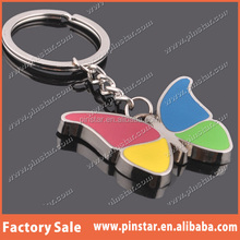 China Wholesale Good Qulity Soft Enamel Metal Assorted Color Butterfly Keyrings