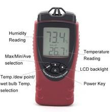 elevata precisione digitale termo igrometro con le mani blub e punto di rugiada