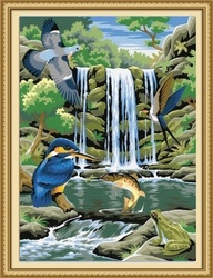 40*50cm waterfall landscape oil painting, diy oil painting