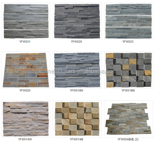 Cheap natural slate stone veneer for interior exterior for Cheapest exterior wall material