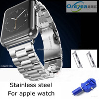 OREYEA Solid Stainless Steel Metal strap For Apple Watch band with retail packaging siliver