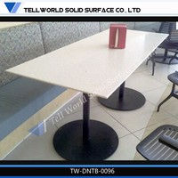 high glossy artificial marble top modern coffee shop elegant design 6 person table