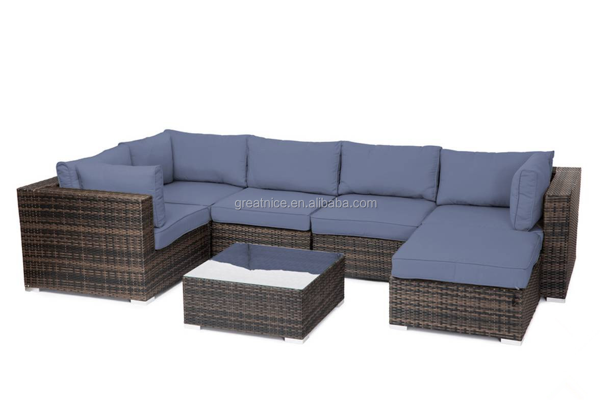 Patio Furniture Sofa Sectional Brown Rattan Wicker w/ multi-Fabric Choices