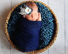 Denim Blue Nubble Beauty image Stretch Wrap Newborn Photo Props,Photography Props, Baby Props