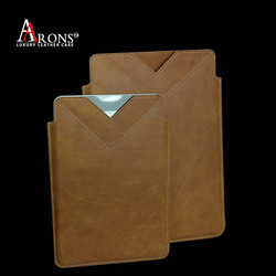 Pouch style first layer cow leather belt clip case for ipad mini