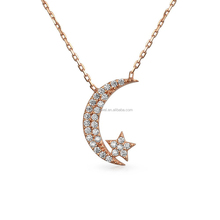 925 sterling silver Moon and star crystal pendant necklace