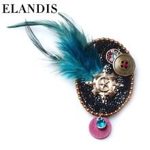 E-ELANDIS jewelry yiwu 2015 diamond design new model unique feather brooch