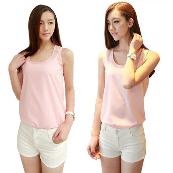women chiffon sleeveless dress shirt blouse summer casual ve