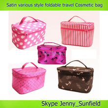 2015 fashion handble satin travel cosmetic bag