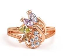 Fashion good quality fake gold rings copper diamond ring glass engagement ring