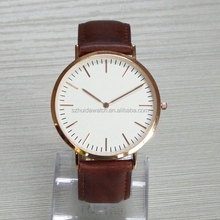 Japan Miyota Movement Stainless Steel Thin Watch Men Leather Band