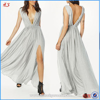 2015 High Sexy Split Pleated Summer Maxi Dress Ladies Casual Pictures Semi Formal Dresses Pictures