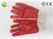 Pvc de color rojo de seguridad guantes de trabajo( bajo precio de alta calidad)