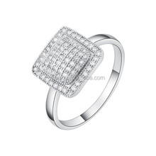 Yiwu Factory Direct Supply Fashion Copper Square Shaped Diamond Ring