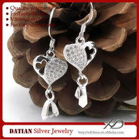 XD C612 925 Sterling Silver Heart Earring Hook Types with Shiny Zircons