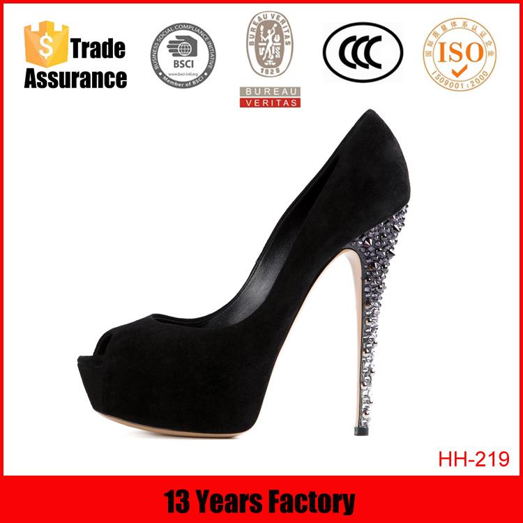 Noir couleur peep toe gros 2016 mode en cuir de sexe très talons hauts femme plate - forme de chaussures