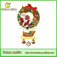 fashion removable christmas sticker/Removable 3D christmas garland window stickers