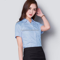 Hot sale made in China promotional custom blue short sleeved formal blouses and skirts