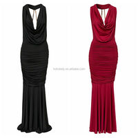 European style wholesale factory custom made black and red evening dress