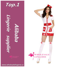 red pockets pvc cheap japanese sexy nurse costume with red cap
