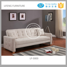 elegant soft linen sofa bed with arms natural wood legs and pillows LF-3003